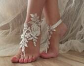 Beach shoes, bridal sandals,  barefoot sandals silver frame lace sandals, becah wedding , ivory sandals, wedding shoes, summer, handmade
