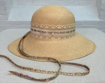 vintage palm leaf hat // Frank Olive summer hat // 1960s 1970s