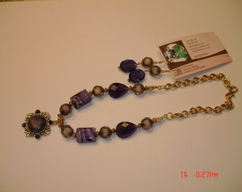 Dark Purple necklace and earring set