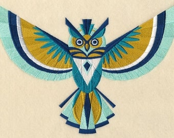 Art Deco Long-Eared Owl Embroidered on Made-to-Order Pillow Cover