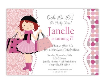 Paris Invitation - Pink Peach Gray Damask, Cute French Girl, Paris Parisian Personalized Birthday Party Invite - a Digital Printable File