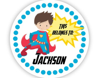 Kids Personalized Stickers - Blue Polka Dot, Red Blue Super Hero, Boy Superhero Name Label Stickers, Name Tags - Back to School Name Labels