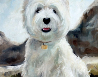 PRINT White Westie West Highland Terrier Dog Puppy Art Print Oil Painting / Mary Sparrow of Hanging the Moon Studio