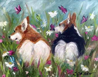 PRINT Pembroke Welsh Corgi Dog Art fluffy bunny butts butterflies and wildflowers / Mary Sparrow of Hanging the Moon