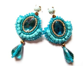 Bead embroidered earrings - Oliwia