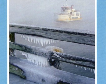 Ferry in winter - photo card