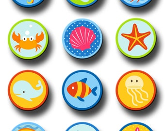 Ocean Sea Life  Party Favors 2.25 inch pinback button pin badge Party Supplies Party Favor