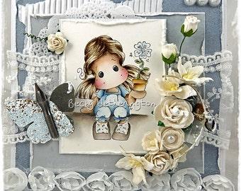 Handmade Magnolia Tilda Card, By Becky