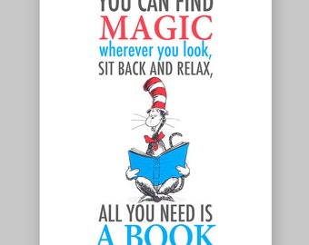 Dr Seuss Quote - Cat in the hat Printable Nursery Quote-You can find magic wherever you look