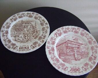 Vintage 80's Collectible Knott's Berry Farm Plates
