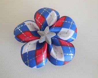 Red/White/Blue Argyle Flower Bow