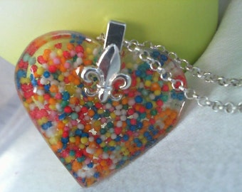 Candy Sprinkles Resin Heart Pendent