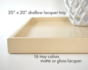 20 x 20 Shallow Coffee Table Tray, Ottoman Tray, Decorative Tray, Wedding Gift, Housewarming Gift