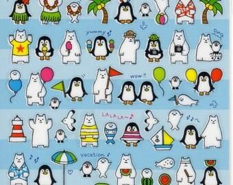 Japan Mind Wave summer selection kawaii SUMMER ANIMALS sticker sheet/75945