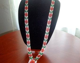 Vintage Handmade Beaded Ethnic Long Boho Necklace Floral So Cool