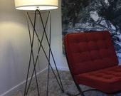 Mid century modern iron floor lamp, tripod