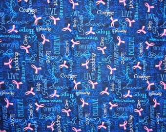 Blue Words of Encouragemant Breast Cancer Awareness Cotton Fabric by the Half Yard