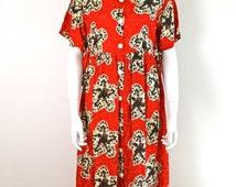 ON SALE 80s Batik Tent Dress / Boho Maxi Tent Dress / Grunge Maxi Dress / Hippie Boho / Made in USA Dress / Festival Tent Dress Tribal Ethni