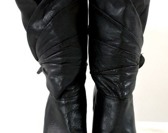 ON SALE LEATHER Boots: Black Leather Boots // Gloria Vanderbilt // Designer Boots // 80s Retro Boots // Trendy Hipster Boots