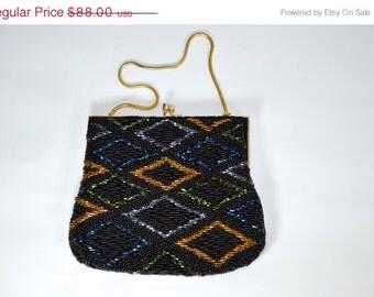 ON SALE 1950s Beaded Bag: Elegant Evening Purse 50s // Fifties Style Bag // 50s Style Purse // 50s Beaded Purse