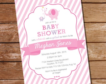 Elephant Baby Shower Invitation for a Girl Baby Shower - Instant Download and Edit File at home with Adobe Reader