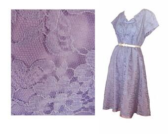 Lace Vintage 50s Prom Dress Blue Wedding Dress Size Large