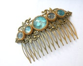 Large Decorative Hair Comb - filigree hair comb - turquoise Hair Comb - Woodland Hair Accessory - Wedding Bridal Hair Comb