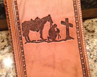 Custom Western Hand Tooled Bible Cover