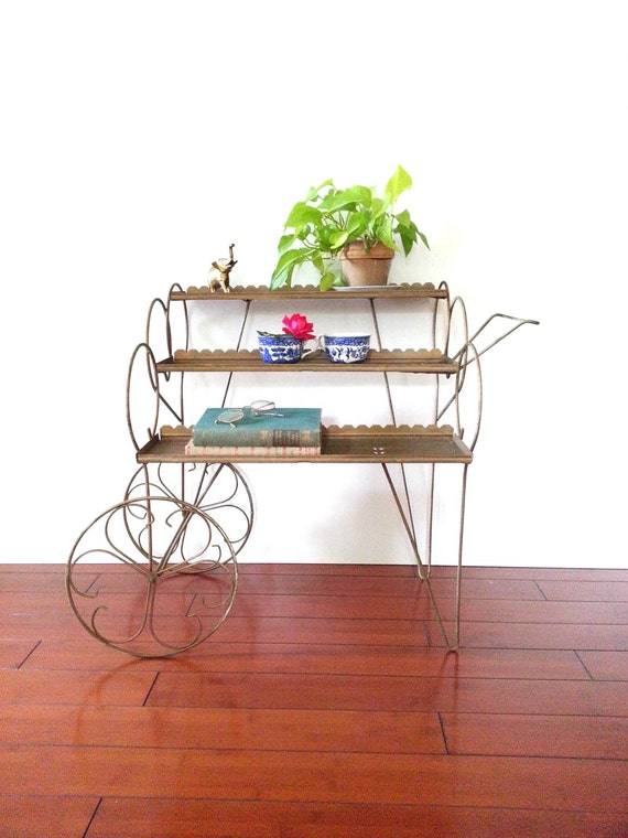Vintage 60 S Metal Plant Stand Rolling Tea Cart Tiered