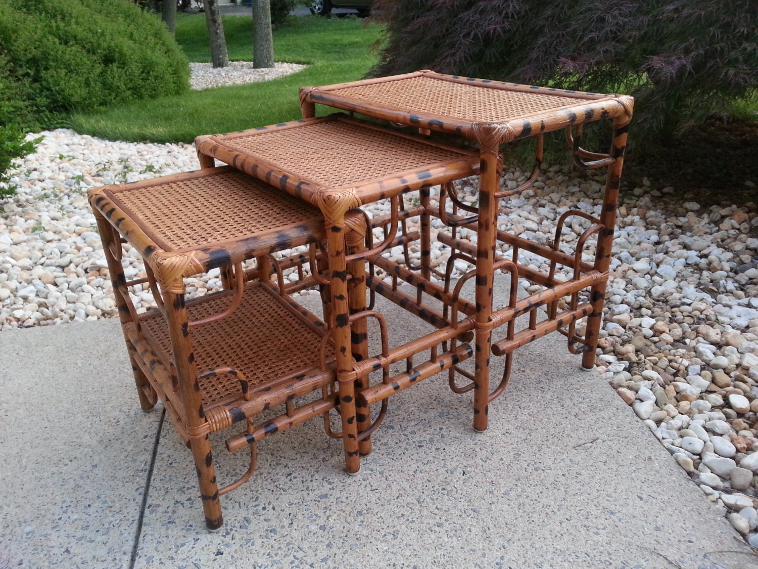 Tortoise Faux Bamboo Nesting Tables Vintage Set By LUCKYHOMEFINDS. Full resolution  image, nominally Width 1500 Height 1125 pixels, image with #47652C.
