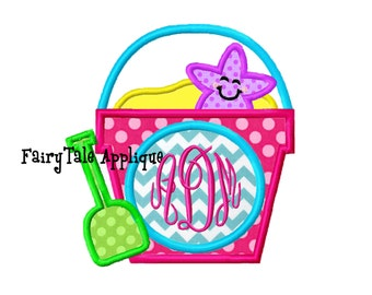 Digitial Machine Embroidery Design -  Sand Pail with a Monogram Circle Applique