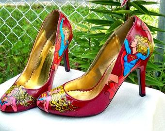 SuperGirl Heels, Hand Painted Shoes, Vintage Shoes, Painted Pumps, Superhero High Heels, Comicbook hero shoes, Womens Shoes, Ladies heels