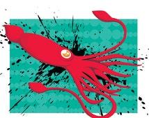 Squid Print, Squid, Squid art, CMYK, Home Decor, Cephalopod Art, Wall Art, Bright, Squid Illustration, Squid Giclee, Ocean, Print, Linen