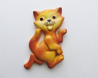 70s Miller Studio Cat Chalkware Orange Tabby KITSCH Wall Hanging Mod Mid Century Decor Kids Room