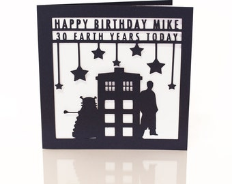 Personalised paper cut Dr Who Birthday Card