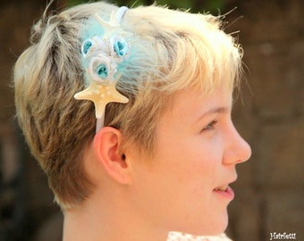 Beach Pixie starfish headband, star fish headband, ocean fairie, starfish hair pieces, mermaid headband, beach wedding headband, sea star