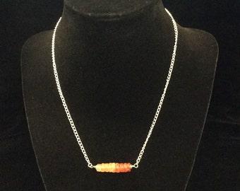Carnelian heishi bead necklace