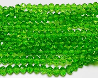 36pcs 6x8mm Green Crystal Rondelles Like FERN GREEN Swarovski Crystals A Grade Diy Jewelry Beads