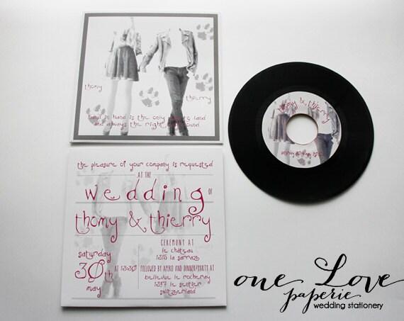 Record Wedding Invitations: Items Similar To Custom 7in Vinyl Record Wedding