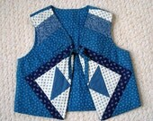 NEW ON SALE Child's Handmade Quilted Blue Patchwork Vest, Retro Boho Style Quality Couture Fabrics