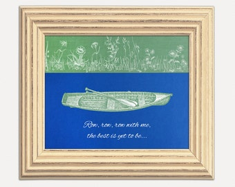 Row with Me Nature Love Blue Green Poster Home Living Room Bedroom Decor Boat Canoe Paddle Vintage Collage Nature 8x10 9x12 11x14 16x20
