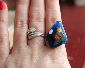 Vintage Blue Artistic Ring with Pops of Color