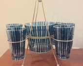 SALE-Vintage 1960's Glass Barware Set Glass Ice Bucket and Caddy
