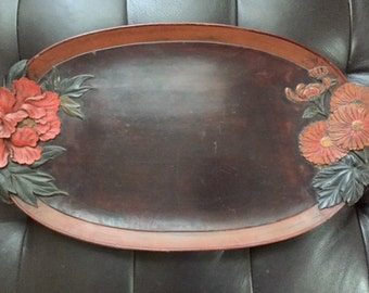 Carved Flower Faux Wood Syroco Oval Tray