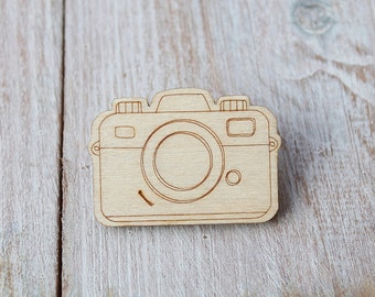Laser Cut Wooden Camera Brooch
