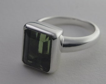 Moldavite and Silver Ring