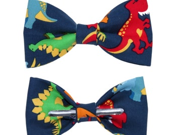 Navy Dinoasurs Clip on Bow Tie Bowtie