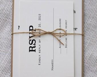 Modern Wedding Invitation,  Rustic Chic Wedding Invitation, Rustic wedding Invitation. Handmade. Simple Wedding Invitation, Iinvitation set
