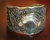 Arabian Horse Head with Oak Pattern Cuff Bracelet