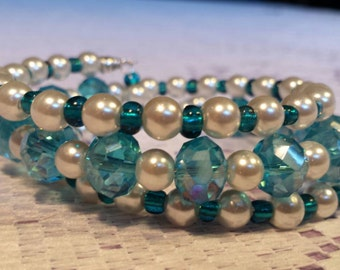 Turquoise crystals and white pearl memory wire bracelet